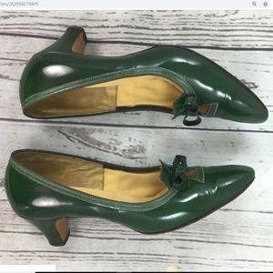 Vintage 1940's Peak-a-boo toes Red Cross Heels 7